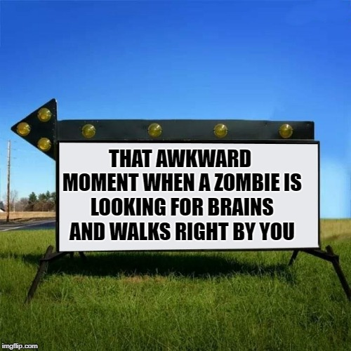 no brains here | THAT AWKWARD MOMENT WHEN A ZOMBIE IS LOOKING FOR BRAINS AND WALKS RIGHT BY YOU | image tagged in yard sign,zombie | made w/ Imgflip meme maker