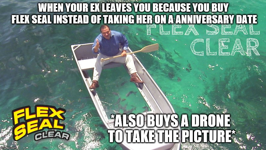 Flex seal | WHEN YOUR EX LEAVES YOU BECAUSE YOU BUY FLEX SEAL INSTEAD OF TAKING HER ON A ANNIVERSARY DATE *ALSO BUYS A DRONE TO TAKE THE PICTURE* | image tagged in flex seal | made w/ Imgflip meme maker