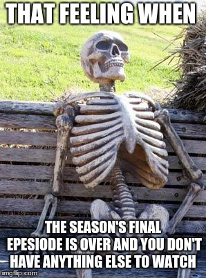 Waiting Skeleton Meme | THAT FEELING WHEN THE SEASON'S FINAL EPESIODE IS OVER AND YOU DON'T HAVE ANYTHING ELSE TO WATCH | image tagged in memes,waiting skeleton | made w/ Imgflip meme maker