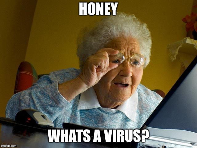 Grandma finds the dark web | HONEY WHATS A VIRUS? | image tagged in memes,grandma finds the internet,virus,computer | made w/ Imgflip meme maker