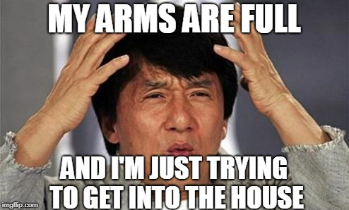 Jackie Chan WTF | MY ARMS ARE FULL AND I'M JUST TRYING TO GET INTO THE HOUSE | image tagged in jackie chan wtf | made w/ Imgflip meme maker