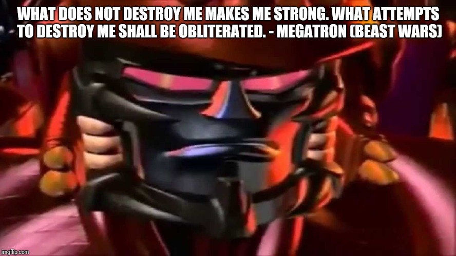 What does not destroy me makes me strong. what attempts to destroy me shall be obliterated. - Megatron | WHAT DOES NOT DESTROY ME MAKES ME STRONG. WHAT ATTEMPTS TO DESTROY ME SHALL BE OBLITERATED. - MEGATRON (BEAST WARS) | image tagged in megatron,beast wars,transformers | made w/ Imgflip meme maker