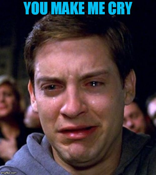 crying peter parker | YOU MAKE ME CRY | image tagged in crying peter parker | made w/ Imgflip meme maker