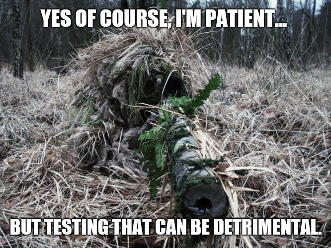 Patients | YES OF COURSE, I'M PATIENT... BUT TESTING THAT CAN BE DETRIMENTAL. | image tagged in ghillie,waiting,patient,stealth,keep calm,memes | made w/ Imgflip meme maker
