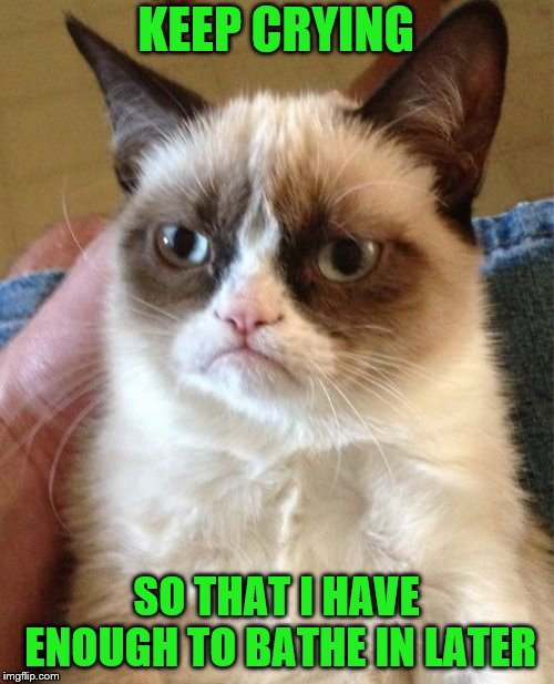 Grumpy Cat Meme | KEEP CRYING SO THAT I HAVE ENOUGH TO BATHE IN LATER | image tagged in memes,grumpy cat | made w/ Imgflip meme maker