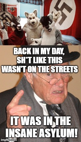 Society is mental | BACK IN MY DAY, SH*T LIKE THIS WASN'T ON THE STREETS IT WAS IN THE INSANE ASYLUM! | image tagged in memes,funny,furries,back in my day,nazis,insanity | made w/ Imgflip meme maker