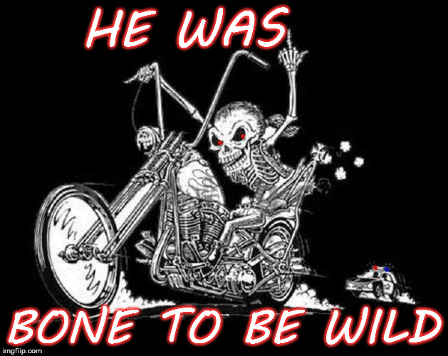 Get your motor runnin', Head out on the highway, Lookin' for adventure... | HE WAS BONE TO BE WILD | image tagged in skeleton on motorcycle,memes,wild,race | made w/ Imgflip meme maker