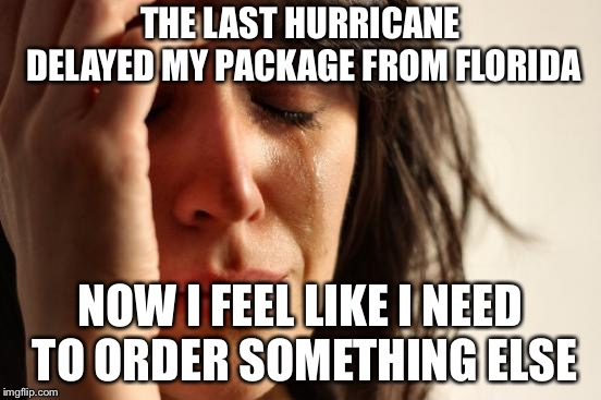 First World Problems Meme | THE LAST HURRICANE DELAYED MY PACKAGE FROM FLORIDA NOW I FEEL LIKE I NEED TO ORDER SOMETHING ELSE | image tagged in memes,first world problems | made w/ Imgflip meme maker