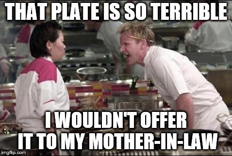 Angry Chef Gordon Ramsay Meme | THAT PLATE IS SO TERRIBLE I WOULDN'T OFFER IT TO MY MOTHER-IN-LAW | image tagged in memes,angry chef gordon ramsay | made w/ Imgflip meme maker