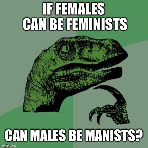 Manism | IF FEMALES CAN BE FEMINISTS CAN MALES BE MANISTS? | image tagged in memes,philosoraptor,funny,feminism,hilarious,so i got that goin for me which is nice | made w/ Imgflip meme maker