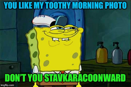 Dont You Squidward Meme | YOU LIKE MY TOOTHY MORNING PHOTO DON'T YOU STAVKARACOONWARD | image tagged in memes,dont you squidward | made w/ Imgflip meme maker