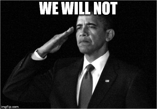 obama-salute | WE WILL NOT | image tagged in obama-salute | made w/ Imgflip meme maker