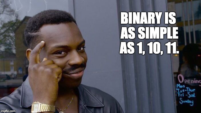 Roll Safe Think About It Meme | BINARY IS AS SIMPLE AS 1, 10, 11. | image tagged in memes,roll safe think about it | made w/ Imgflip meme maker