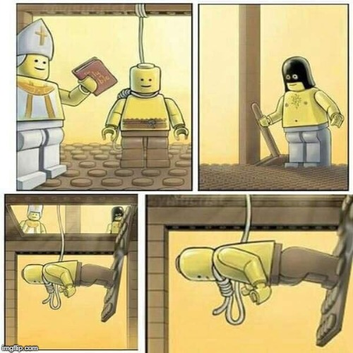 The Laws Of Legos Are Stronger Than the Laws Of Gravity | image tagged in legos,memes,gravity,execution,hangman,lego week | made w/ Imgflip meme maker
