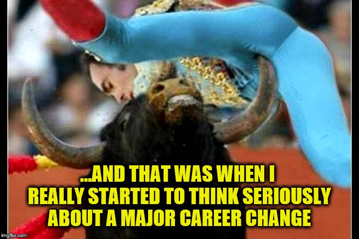 a moment of clarity | ...AND THAT WAS WHEN I REALLY STARTED TO THINK SERIOUSLY ABOUT A MAJOR CAREER CHANGE | image tagged in bull fighting,involuntary taint reconstruction,career choices | made w/ Imgflip meme maker
