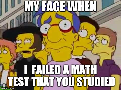 sad milhouse | MY FACE WHEN I  FAILED A MATH TEST THAT YOU STUDIED | image tagged in sad milhouse | made w/ Imgflip meme maker