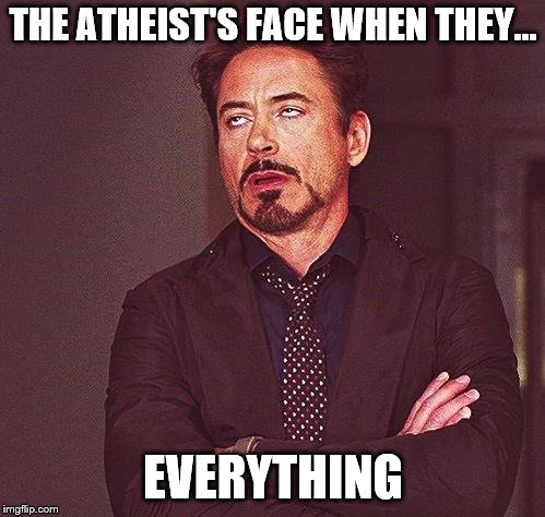 Robert Downey Jr Annoyed | THE ATHEIST'S FACE WHEN THEY... EVERYTHING | image tagged in robert downey jr annoyed | made w/ Imgflip meme maker