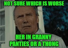 NOT SURE WHICH IS WORSE HER IN GRANNY PANTIES OR A THONG | made w/ Imgflip meme maker