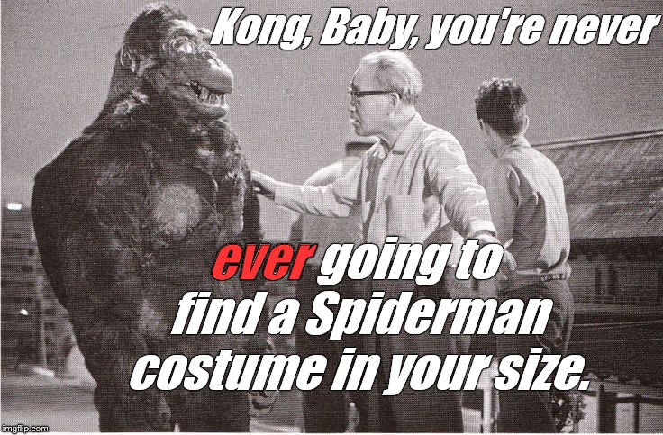 Dealing with big-time Hollywood stars requires more tact than Ishii-San can muster all the time.  |  Kong, Baby, you're never; ever; ever going to find a Spiderman costume in your size. | image tagged in kong with director,ishii-san,kid gloves,spiderman envy,happy halloween,douglie | made w/ Imgflip meme maker