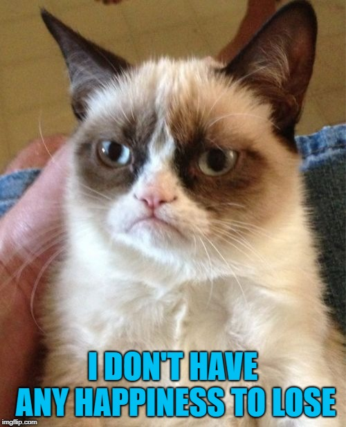Grumpy Cat Meme | I DON'T HAVE ANY HAPPINESS TO LOSE | image tagged in memes,grumpy cat | made w/ Imgflip meme maker