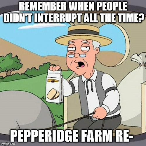 Pepperidge Farm Remembers | REMEMBER WHEN PEOPLE DIDN'T INTERRUPT ALL THE TIME? PEPPERIDGE FARM RE- | image tagged in memes,pepperidge farm remembers | made w/ Imgflip meme maker