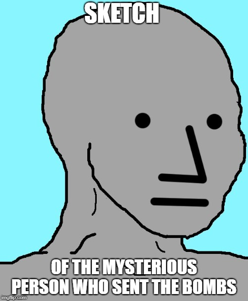 NPC Meme | SKETCH OF THE MYSTERIOUS PERSON WHO SENT THE BOMBS | image tagged in npc | made w/ Imgflip meme maker