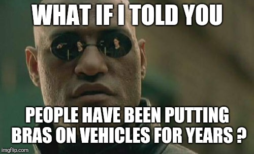 Matrix Morpheus Meme | WHAT IF I TOLD YOU PEOPLE HAVE BEEN PUTTING BRAS ON VEHICLES FOR YEARS ? | image tagged in memes,matrix morpheus | made w/ Imgflip meme maker