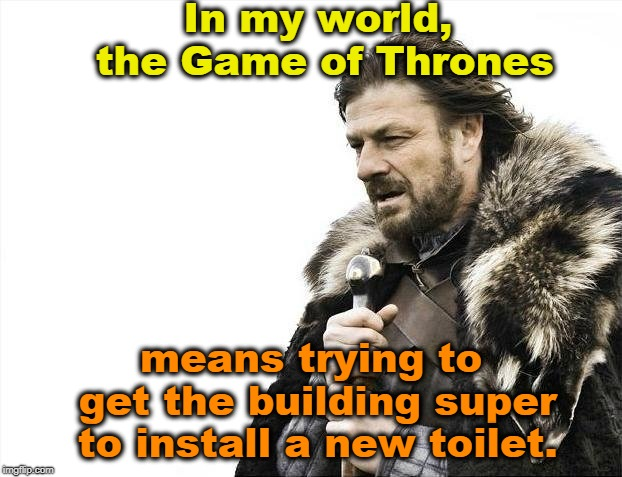 Brace Yourselves X is Coming | In my world, the Game of Thrones means trying to get the building super to install a new toilet. | image tagged in memes,brace yourselves x is coming,game of thrones,super,toilet | made w/ Imgflip meme maker