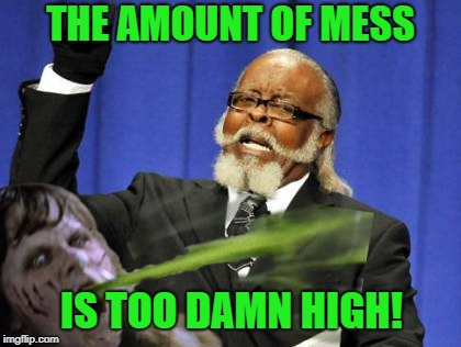 THE AMOUNT OF MESS IS TOO DAMN HIGH! | made w/ Imgflip meme maker
