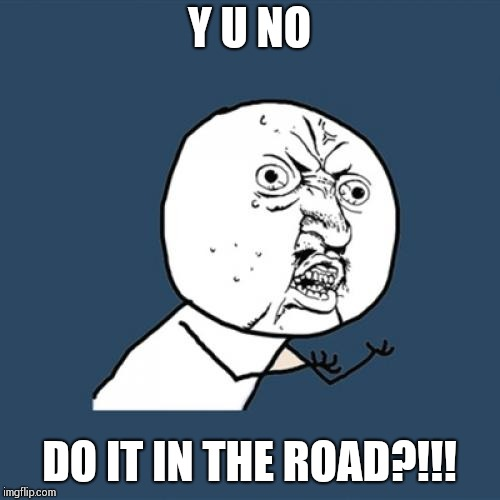 Y U No Meme | Y U NO DO IT IN THE ROAD?!!! | image tagged in memes,y u no | made w/ Imgflip meme maker