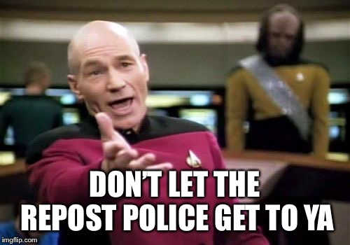 Picard Wtf Meme | DON'T LET THE REPOST POLICE GET TO YA | image tagged in memes,picard wtf | made w/ Imgflip meme maker