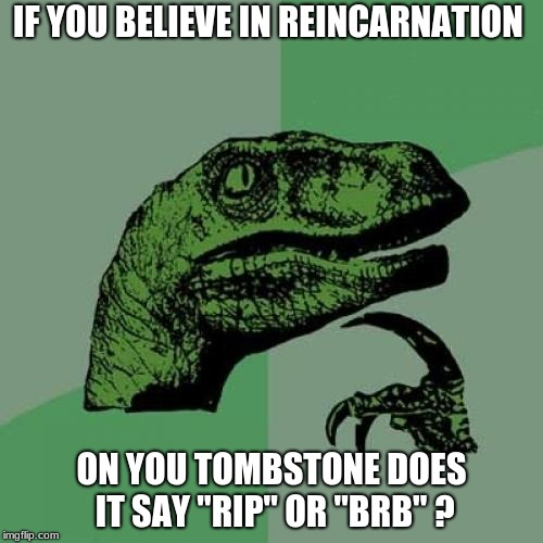 "Philosoraptor Meme | IF YOU BELIEVE IN REINCARNATION ON YOU TOMBSTONE DOES IT SAY ""RIP"" OR ""BRB"" ? 