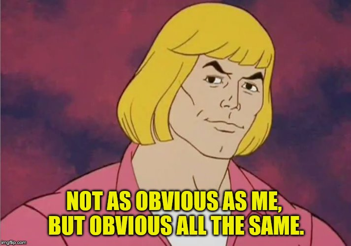 He-Man Prince Adam | NOT AS OBVIOUS AS ME, BUT OBVIOUS ALL THE SAME. | image tagged in he-man prince adam | made w/ Imgflip meme maker