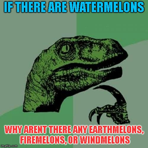 Philosoraptor Meme | IF THERE ARE WATERMELONS WHY ARENT THERE ANY EARTHMELONS, FIREMELONS, OR WINDMELONS | image tagged in memes,philosoraptor | made w/ Imgflip meme maker
