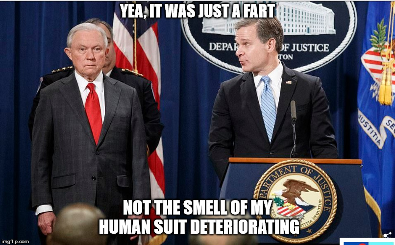 sessions farts | YEA, IT WAS JUST A FART NOT THE SMELL OF MY HUMAN SUIT DETERIORATING | image tagged in jeff sessions,farts,non-human,old man | made w/ Imgflip meme maker
