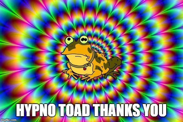 Hypno toad | HYPNO TOAD THANKS YOU | image tagged in hypno toad | made w/ Imgflip meme maker