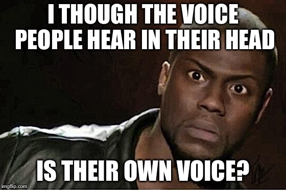 Kevin Hart Meme | I THOUGH THE VOICE PEOPLE HEAR IN THEIR HEAD IS THEIR OWN VOICE? | image tagged in memes,kevin hart | made w/ Imgflip meme maker