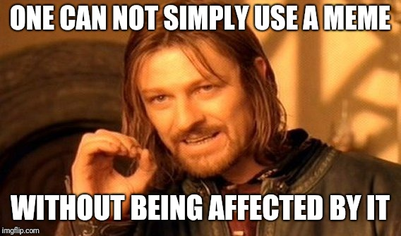 One Does Not Simply Meme | ONE CAN NOT SIMPLY USE A MEME WITHOUT BEING AFFECTED BY IT | image tagged in memes,one does not simply | made w/ Imgflip meme maker