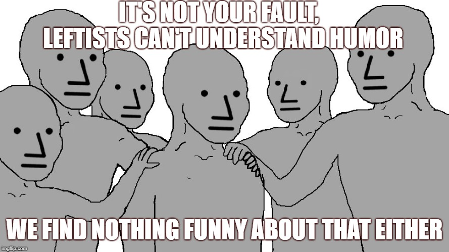 Dimocrat drones | IT'S NOT YOUR FAULT,  LEFTISTS CAN'T UNDERSTAND HUMOR WE FIND NOTHING FUNNY ABOUT THAT EITHER | image tagged in npc,indoctrination,humor | made w/ Imgflip meme maker