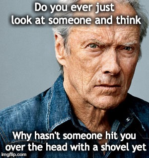 Clint Eastwood | Do you ever just look at someone and think Why hasn't someone hit you over the head with a shovel yet | image tagged in clint eastwood | made w/ Imgflip meme maker