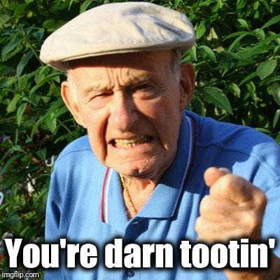 angry old man | You're darn tootin' | image tagged in angry old man | made w/ Imgflip meme maker