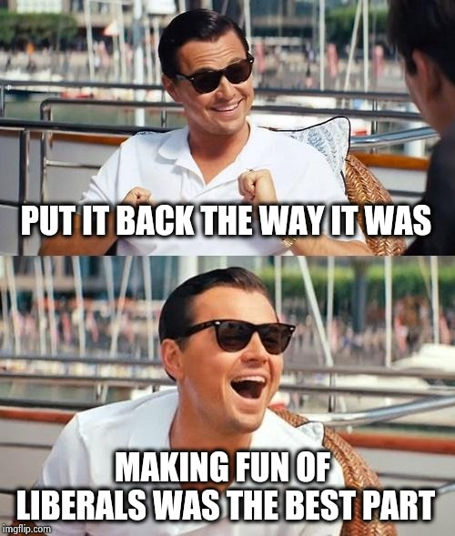 Leonardo Dicaprio Wolf Of Wall Street Meme | PUT IT BACK THE WAY IT WAS MAKING FUN OF LIBERALS WAS THE BEST PART | image tagged in memes,leonardo dicaprio wolf of wall street | made w/ Imgflip meme maker