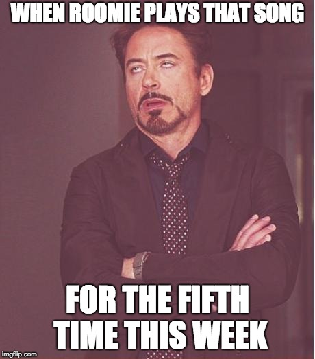 No, I'm only interested in one-bedroom units right now. Thanks though | WHEN ROOMIE PLAYS THAT SONG FOR THE FIFTH TIME THIS WEEK | image tagged in memes,face you make robert downey jr,roommates,roommate | made w/ Imgflip meme maker