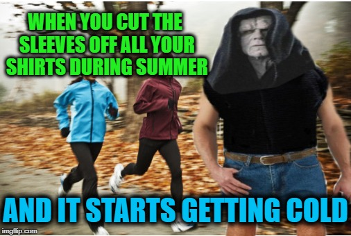 Nothing to wear |  WHEN YOU CUT THE SLEEVES OFF ALL YOUR SHIRTS DURING SUMMER; AND IT STARTS GETTING COLD | image tagged in funny memes,fall,cooler,clothes,emperor palpatine | made w/ Imgflip meme maker
