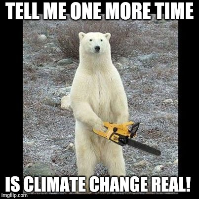 Chainsaw Bear | TELL ME ONE MORE TIME IS CLIMATE CHANGE REAL! | image tagged in memes,chainsaw bear | made w/ Imgflip meme maker