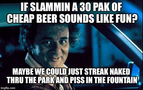 Legal Bill Murray |  IF SLAMMIN A 30 PAK OF CHEAP BEER SOUNDS LIKE FUN? MAYBE WE COULD JUST STREAK NAKED THRU THE PARK AND PISS IN THE FOUNTAIN | image tagged in memes,legal bill murray | made w/ Imgflip meme maker