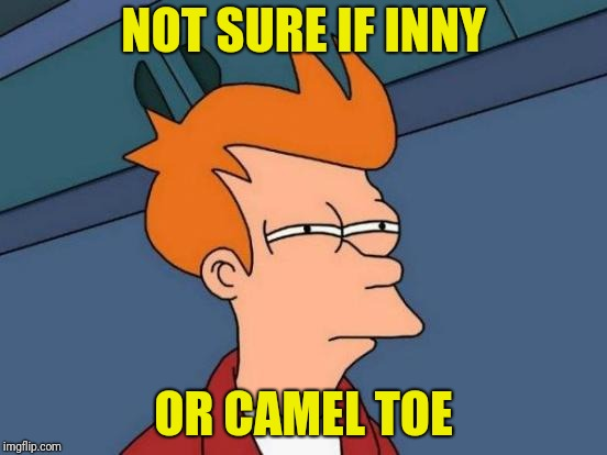 Futurama Fry Meme | NOT SURE IF INNY OR CAMEL TOE | image tagged in memes,futurama fry | made w/ Imgflip meme maker