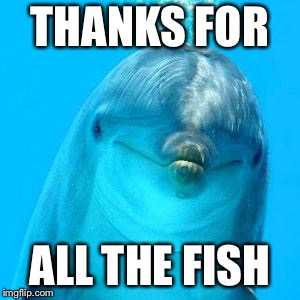 dolphin don't play games | THANKS FOR ALL THE FISH | image tagged in dolphin don't play games | made w/ Imgflip meme maker