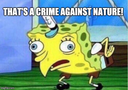 Mocking Spongebob Meme | THAT'S A CRIME AGAINST NATURE! | image tagged in memes,mocking spongebob | made w/ Imgflip meme maker