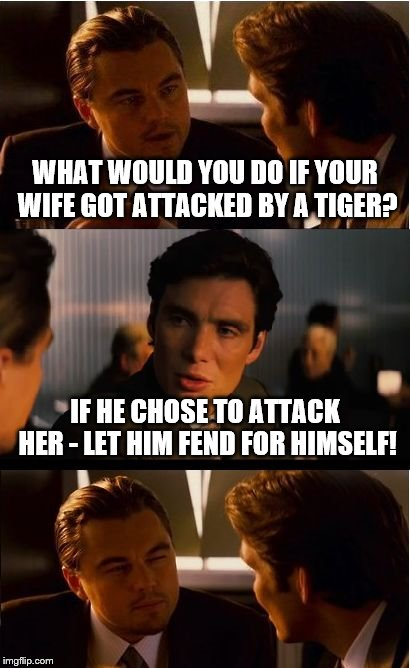 Tiger attack | WHAT WOULD YOU DO IF YOUR WIFE GOT ATTACKED BY A TIGER? IF HE CHOSE TO ATTACK HER - LET HIM FEND FOR HIMSELF! | image tagged in memes,inception,wife,attack,tiger,funny | made w/ Imgflip meme maker